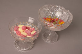 pressed glass and crystal bon bon dishes