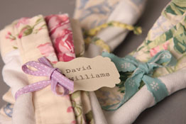 organic cotton napkins trimmed with pretty prints